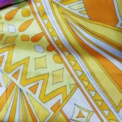 Materiał-TM satyna żółta wzór