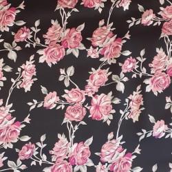 Materiał-TM jedwab różowe róże